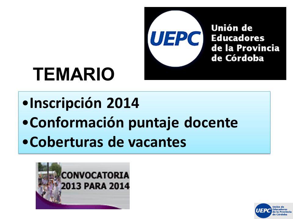 TEMARIO Inscripción 2014 Conformación puntaje docente