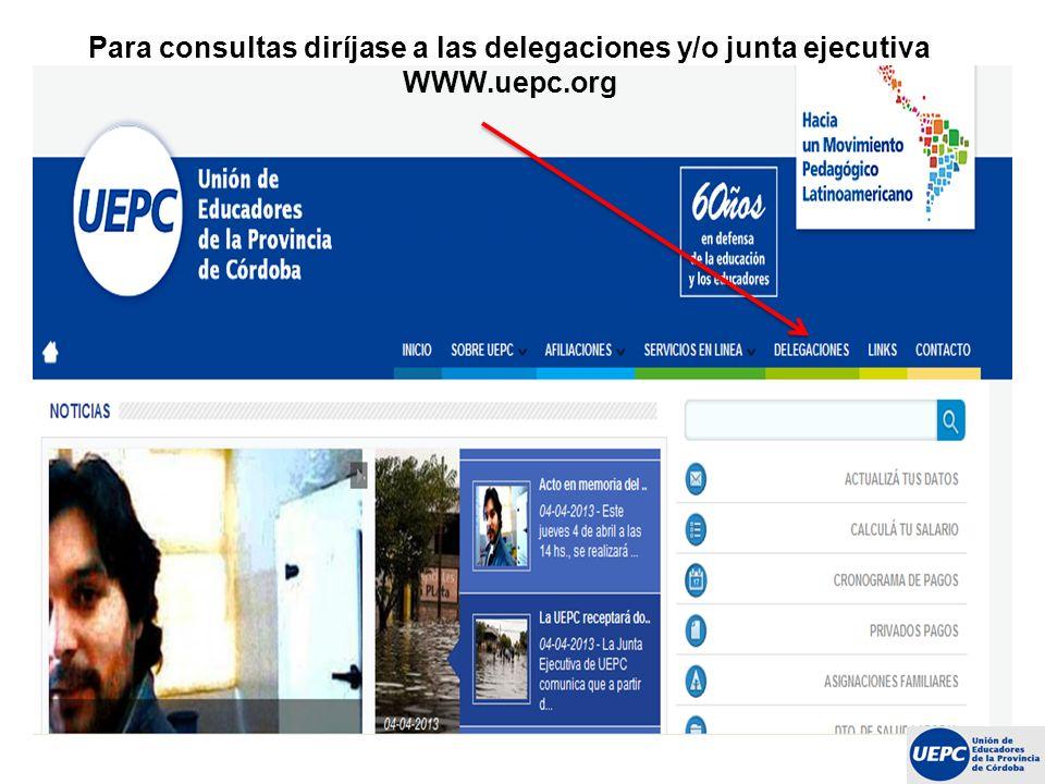 Para consultas diríjase a las delegaciones y/o junta ejecutiva WWW
