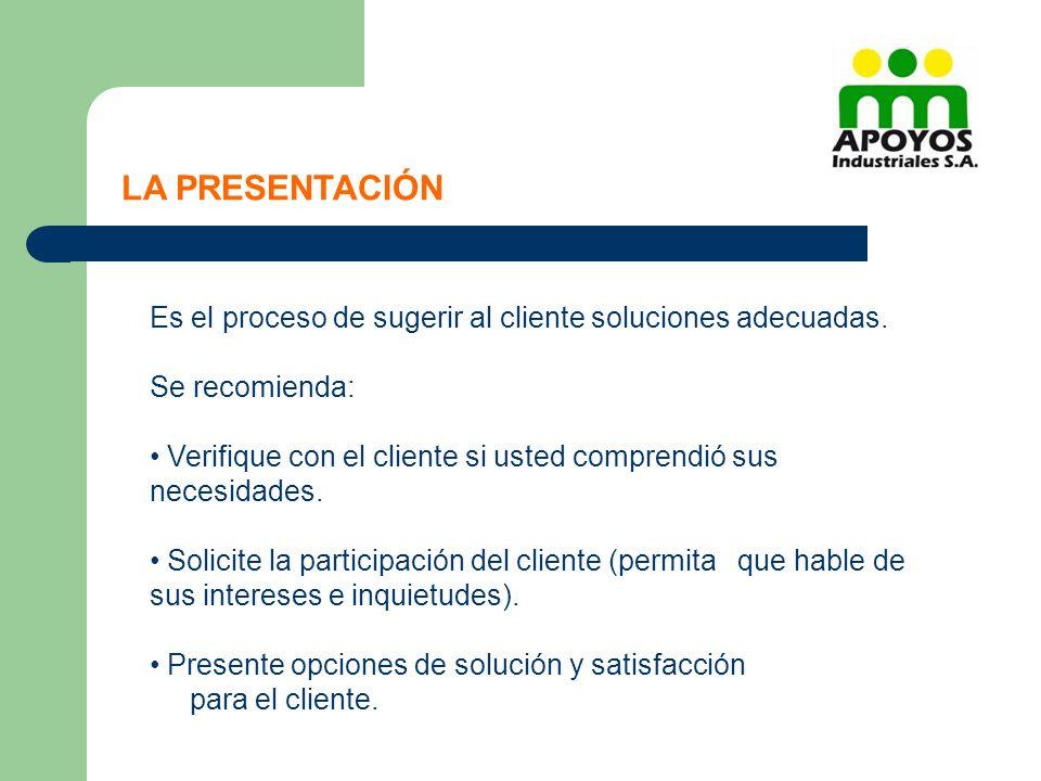 LA PRESENTACIÓN Es el proceso de sugerir al cliente soluciones adecuadas. Se recomienda:
