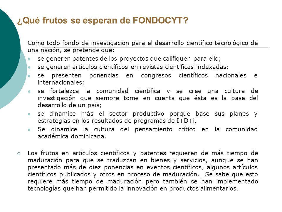 ¿Qué frutos se esperan de FONDOCYT