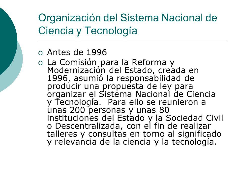 Organización del Sistema Nacional de Ciencia y Tecnología