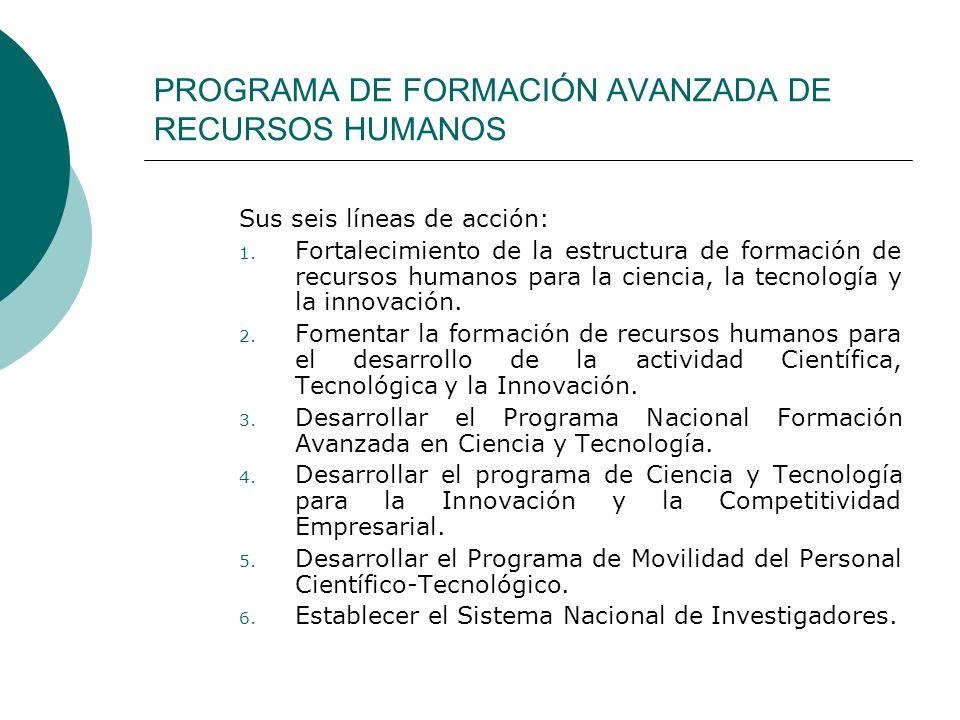 PROGRAMA DE FORMACIÓN AVANZADA DE RECURSOS HUMANOS