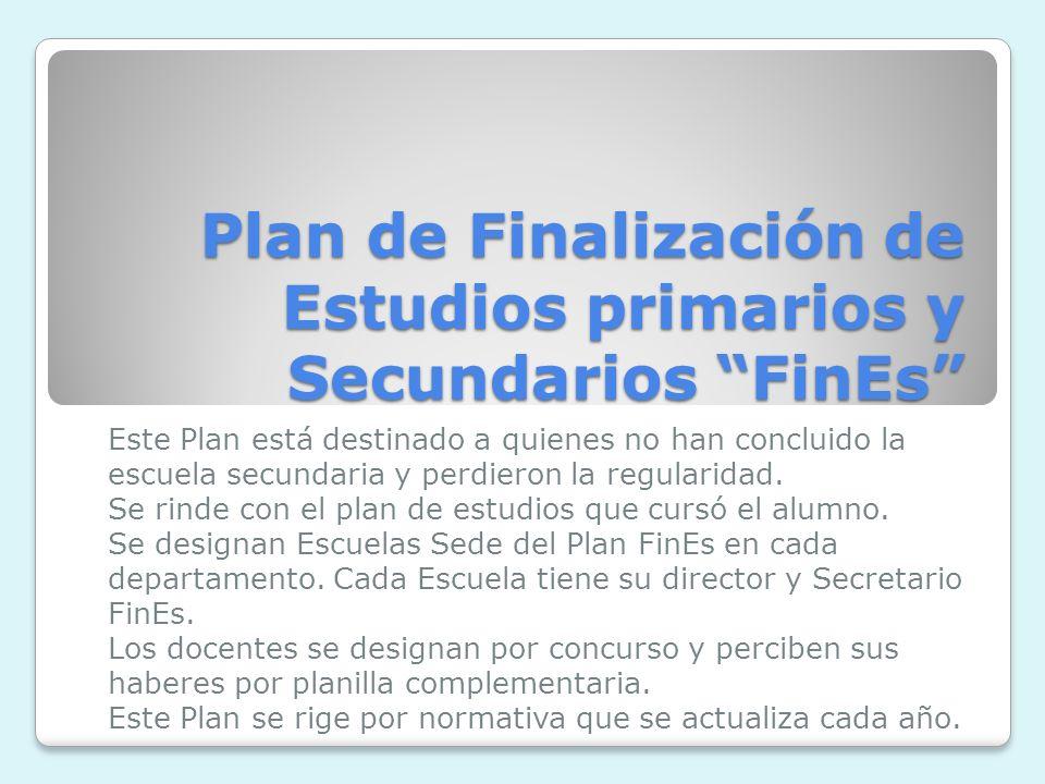 Plan de Finalización de Estudios primarios y Secundarios FinEs