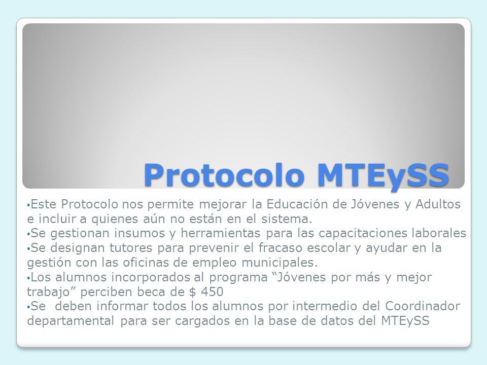 Protocolo MTEySS Este Protocolo nos permite mejorar la Educación de Jóvenes y Adultos e incluir a quienes aún no están en el sistema.