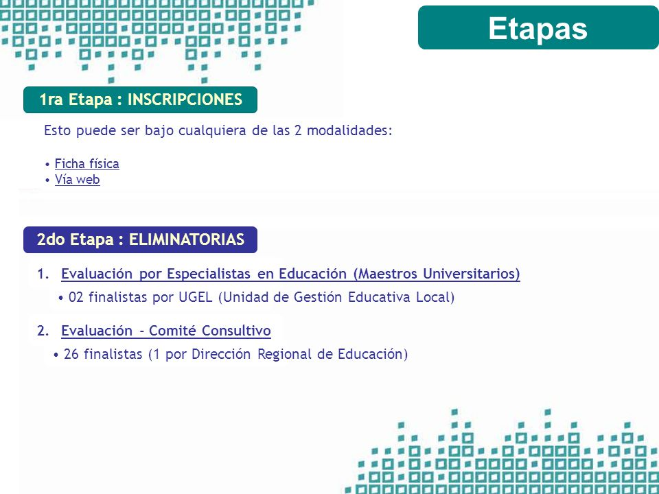 1ra Etapa : INSCRIPCIONES 2do Etapa : ELIMINATORIAS