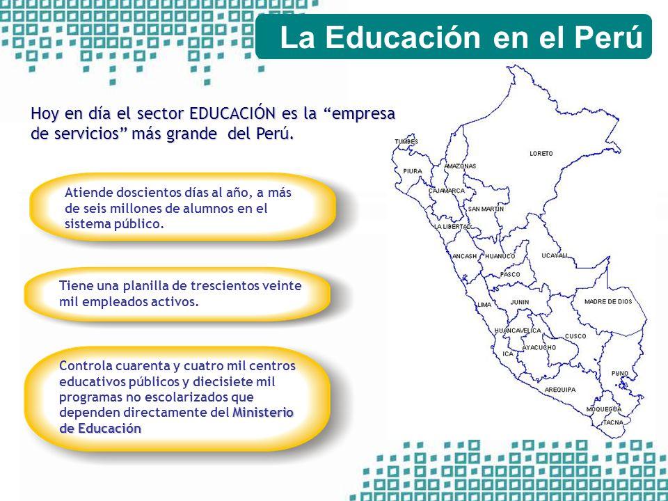 La Educación en el Perú Hoy en día el sector EDUCACIÓN es la empresa de servicios más grande del Perú.