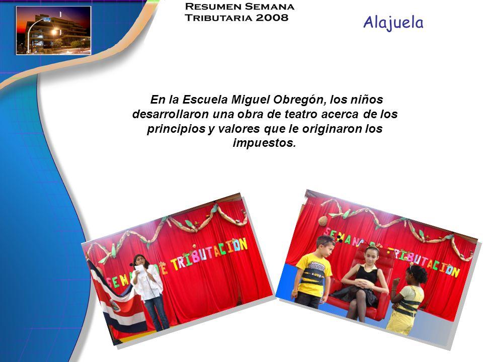 Alajuela En la Escuela Miguel Obregón, los niños desarrollaron una obra de teatro acerca de los principios y valores que le originaron los impuestos.