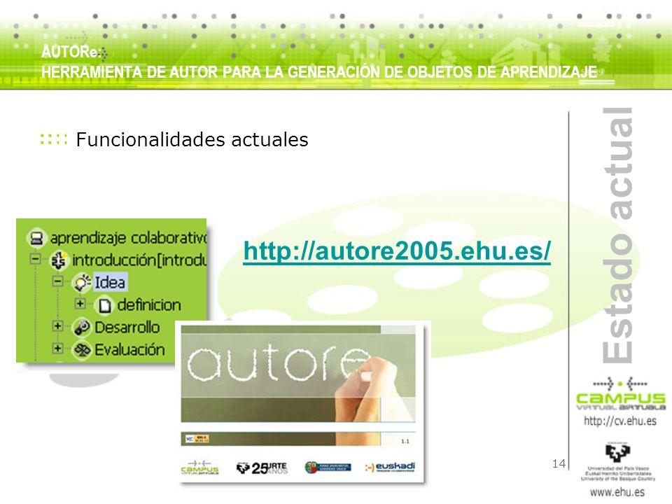 Estado actual http://autore2005.ehu.es/ Funcionalidades actuales