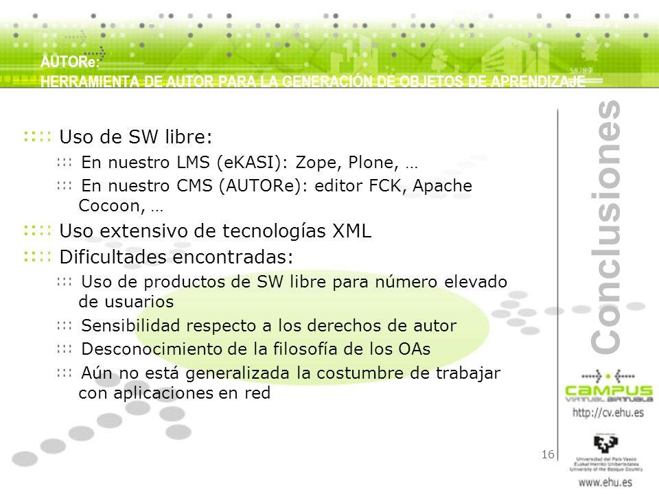 Conclusiones Uso de SW libre: Uso extensivo de tecnologías XML