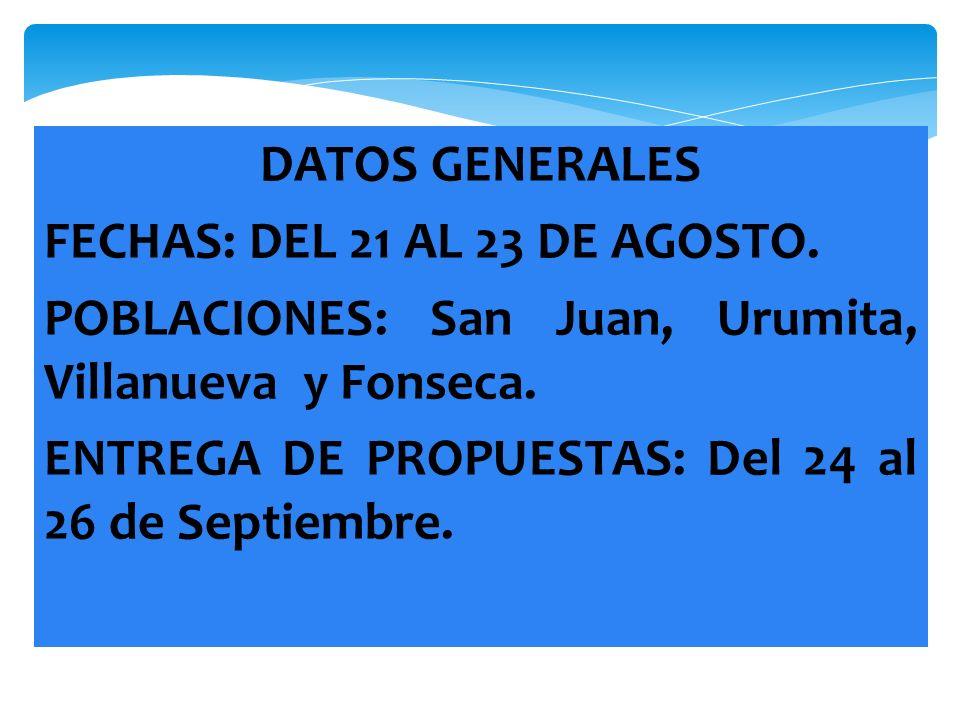 DATOS GENERALES FECHAS: DEL 21 AL 23 DE AGOSTO. POBLACIONES: San Juan, Urumita, Villanueva y Fonseca.