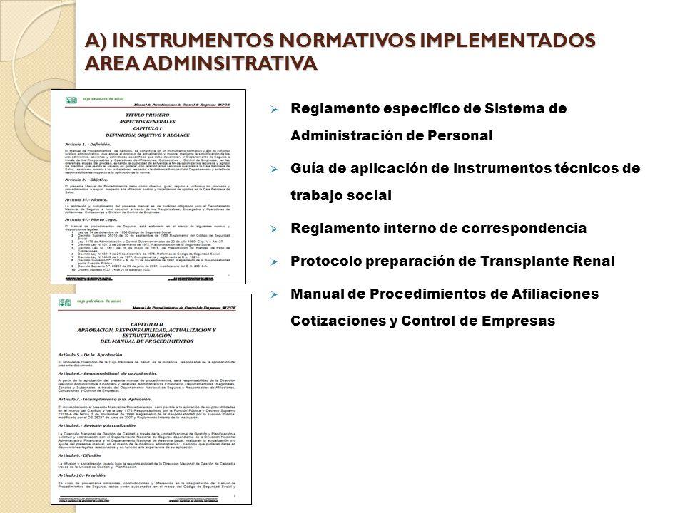A) INSTRUMENTOS NORMATIVOS IMPLEMENTADOS AREA ADMINSITRATIVA
