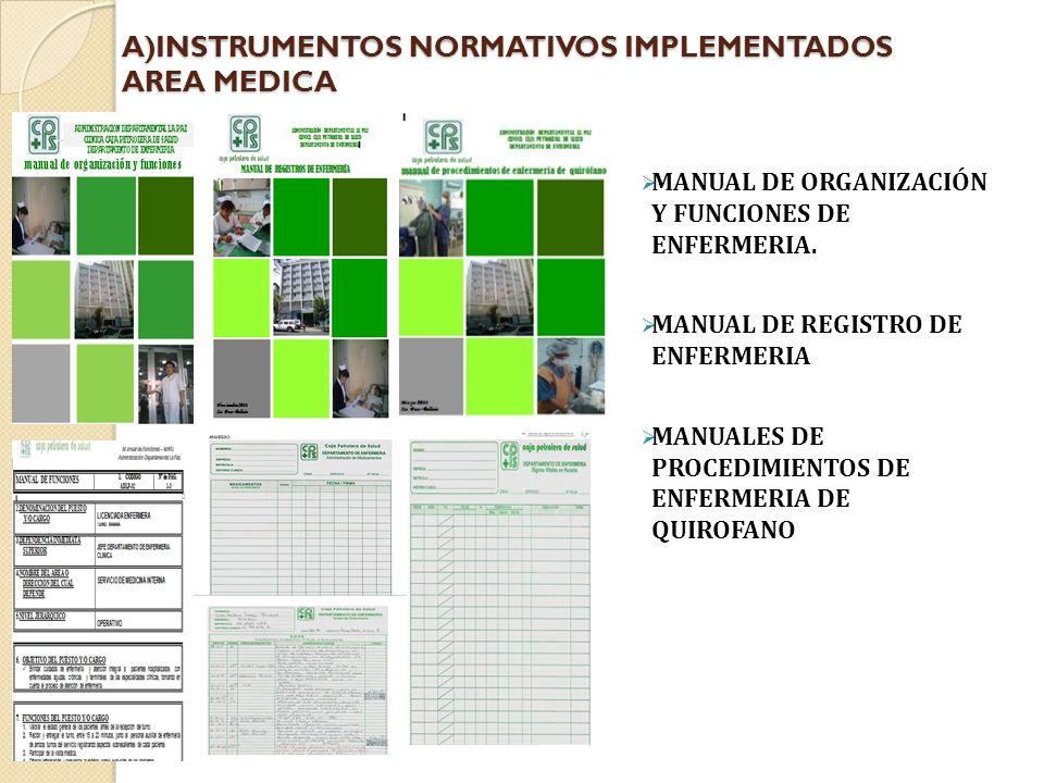 A)INSTRUMENTOS NORMATIVOS IMPLEMENTADOS AREA MEDICA