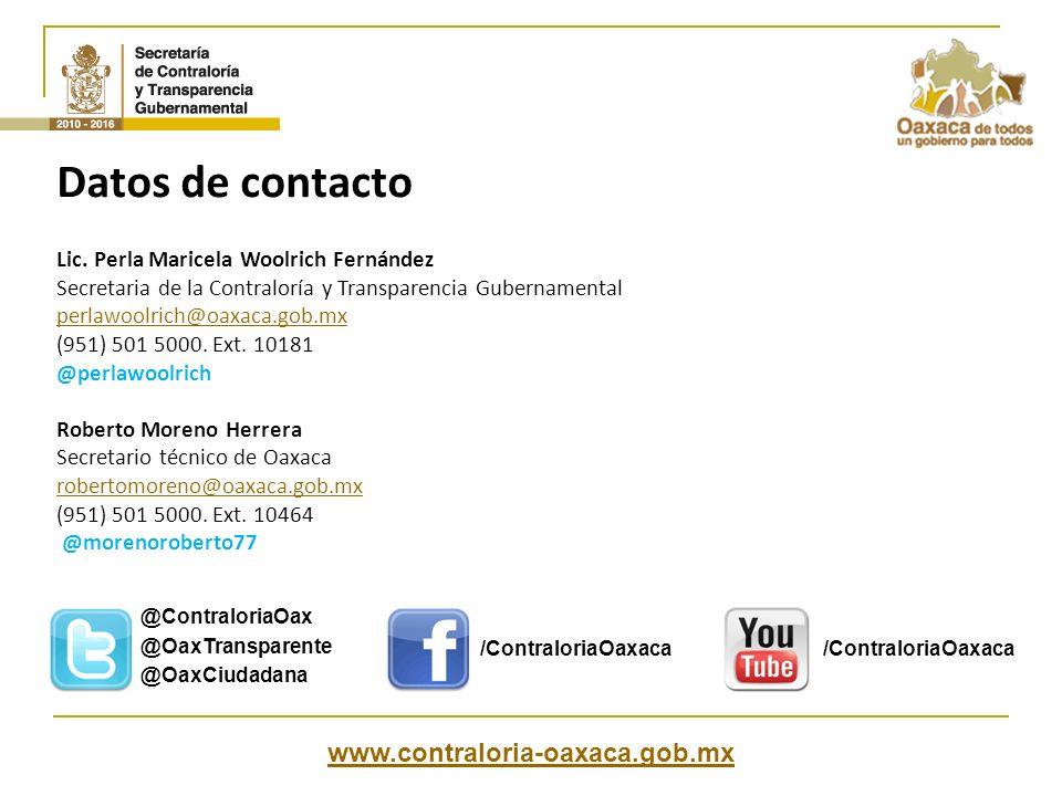 Datos de contacto www.contraloria-oaxaca.gob.mx