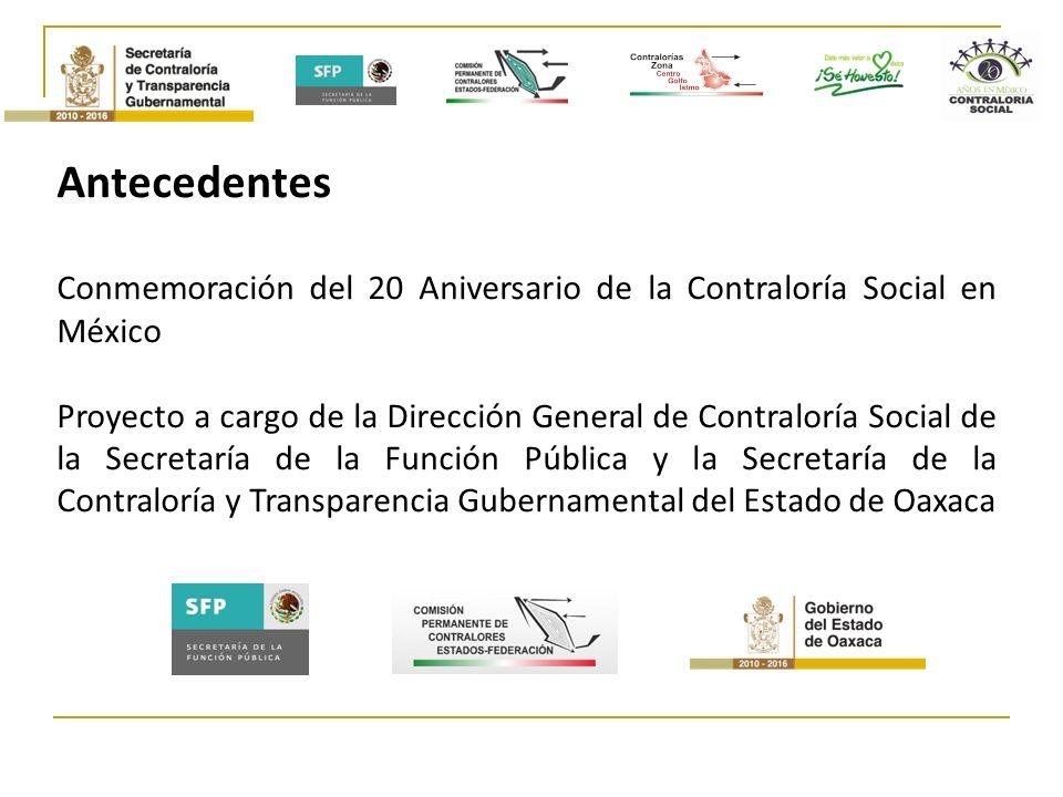 Antecedentes Conmemoración del 20 Aniversario de la Contraloría Social en México.