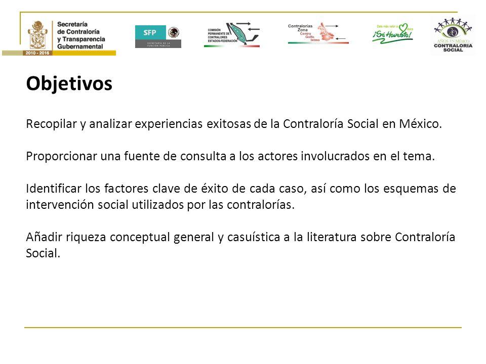 Objetivos Recopilar y analizar experiencias exitosas de la Contraloría Social en México.