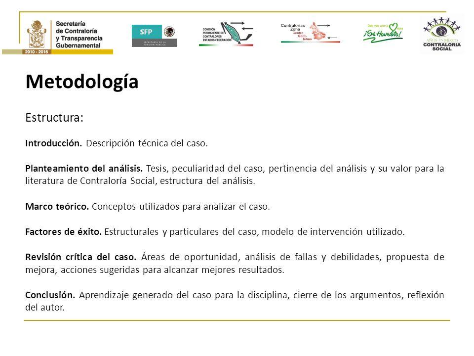 Metodología Estructura: Introducción. Descripción técnica del caso.