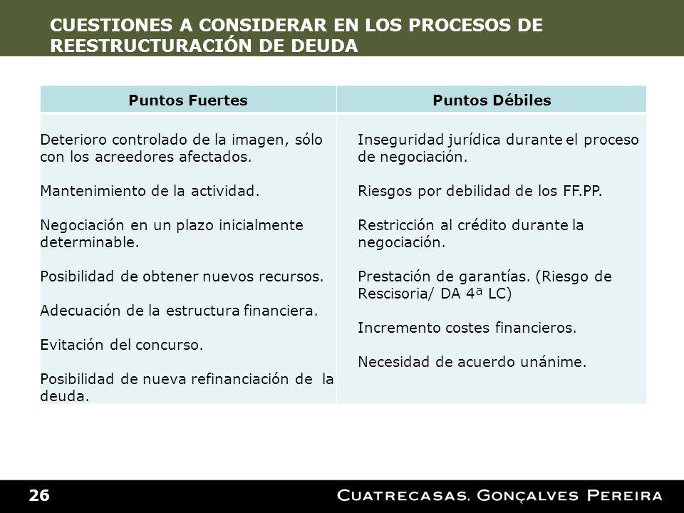 CUESTIONES A CONSIDERAR EN LOS PROCESOS DE REESTRUCTURACIÓN DE DEUDA
