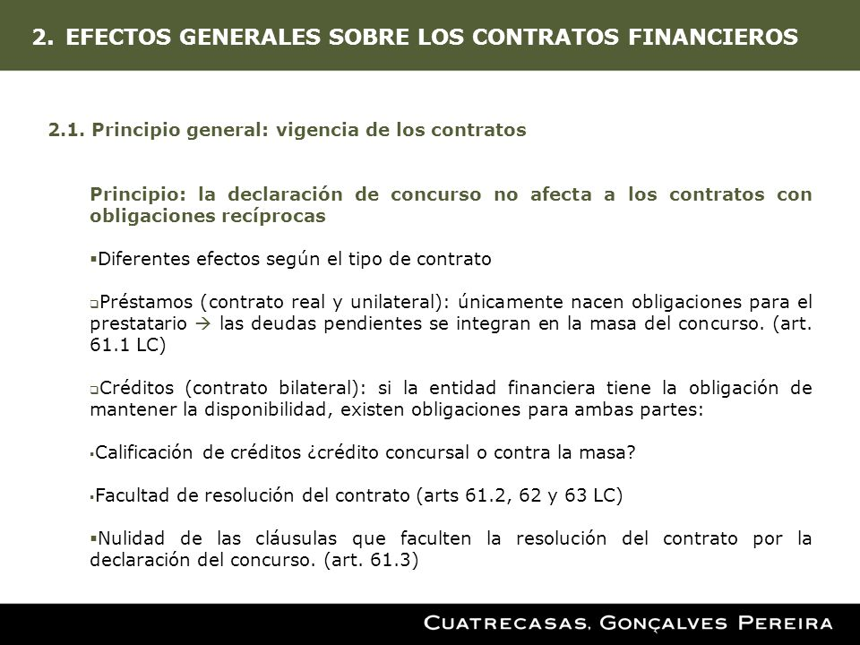 EFECTOS GENERALES SOBRE LOS CONTRATOS FINANCIEROS