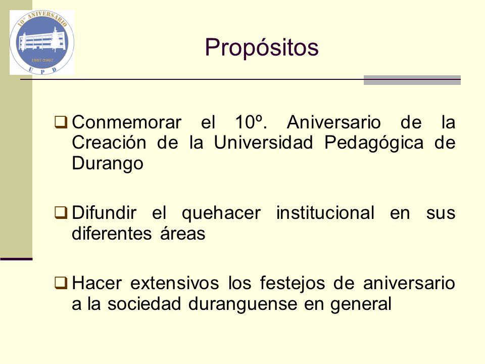 Propósitos Conmemorar el 10º. Aniversario de la Creación de la Universidad Pedagógica de Durango.