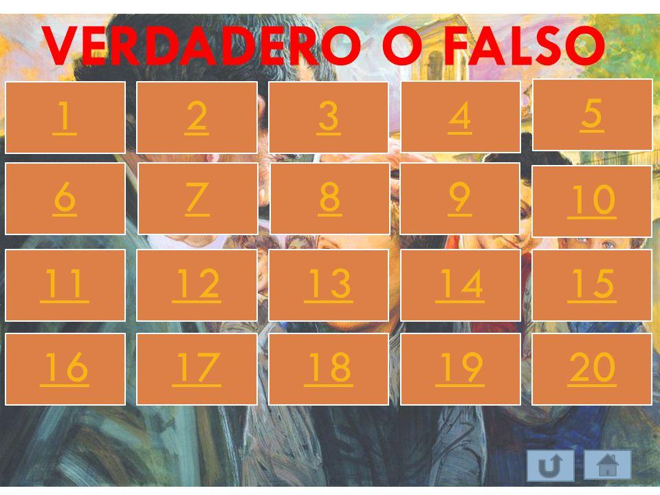 VERDADERO O FALSO 1 2 3 4 5 6 7 8 9 10 11 12 13 14 15 16 17 18 19 20