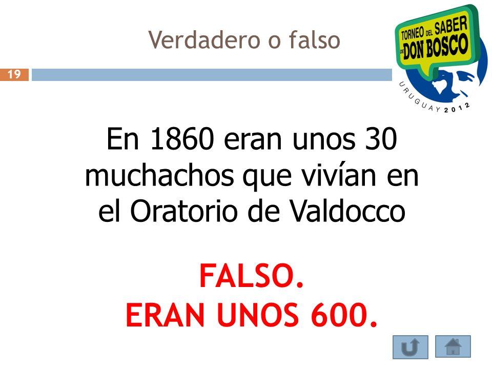 En 1860 eran unos 30 muchachos que vivían en el Oratorio de Valdocco