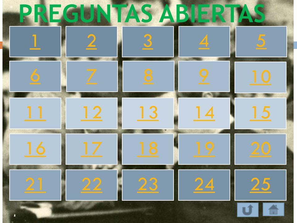 PREGUNTAS ABIERTAS 1 2 3 4 5 6 7 8 9 10 11 12 13 14 15 16 17 18 19 20 21 22 23 24 25