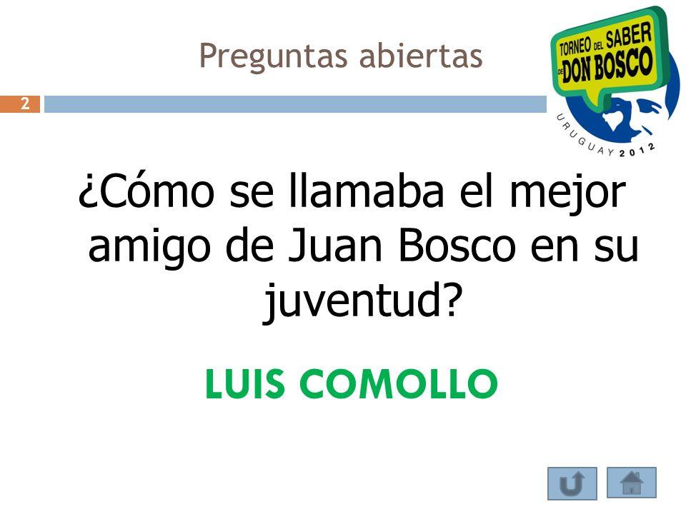 ¿Cómo se llamaba el mejor amigo de Juan Bosco en su juventud