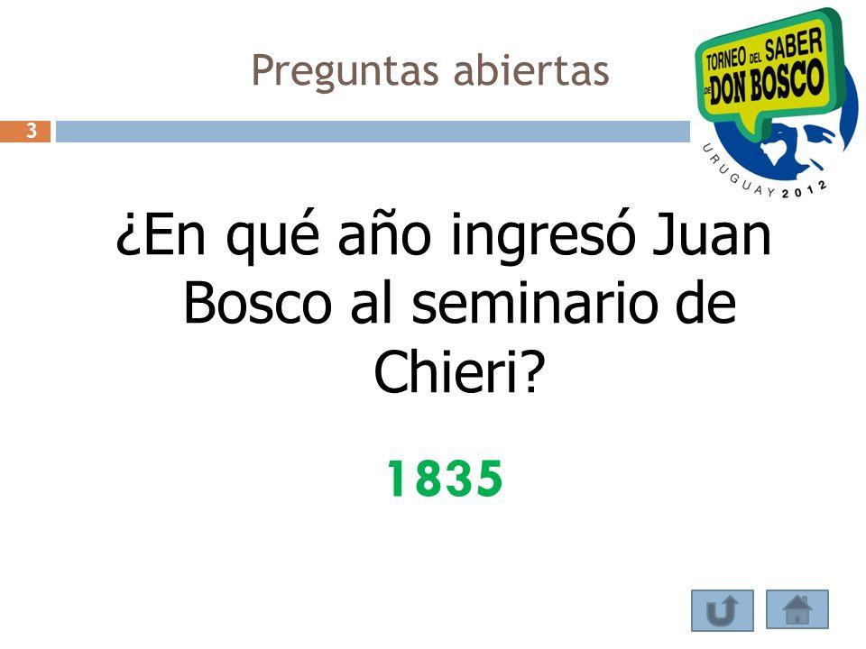 ¿En qué año ingresó Juan Bosco al seminario de Chieri