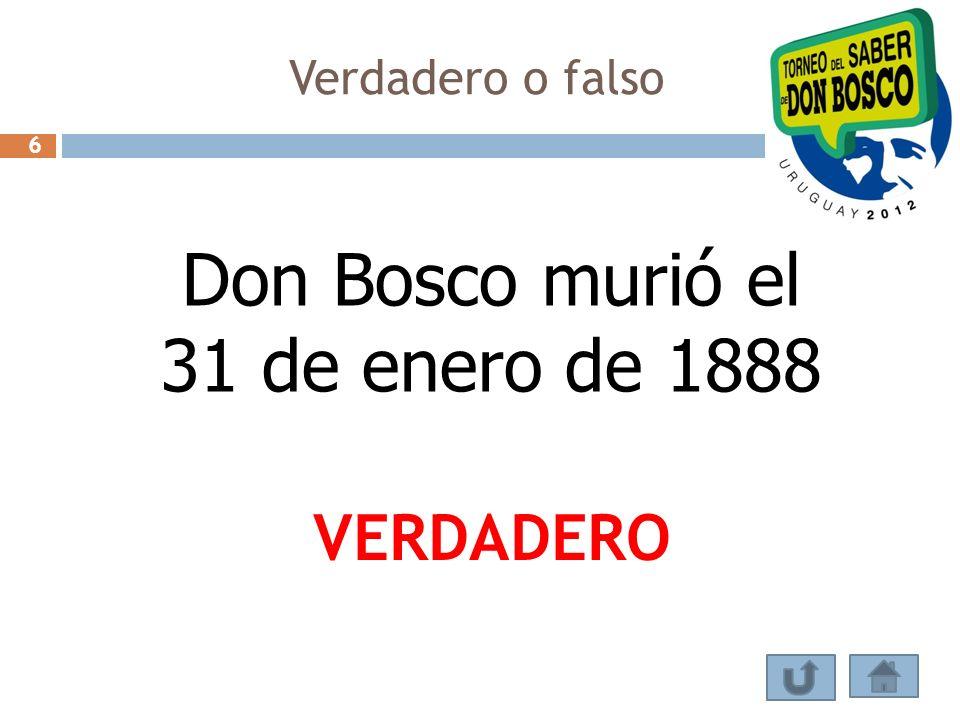 Don Bosco murió el 31 de enero de 1888