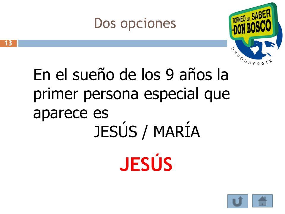 Dos opciones 13. En el sueño de los 9 años la primer persona especial que aparece es. JESÚS / MARÍA.