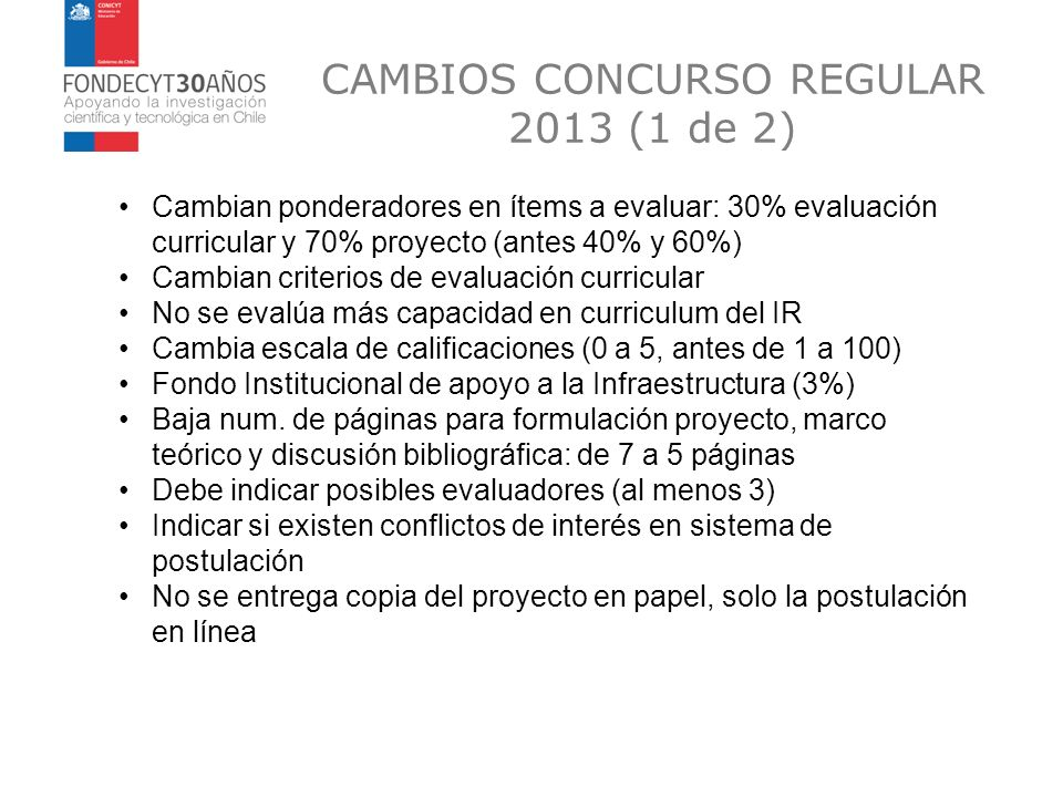 CAMBIOS CONCURSO REGULAR 2013 (1 de 2)