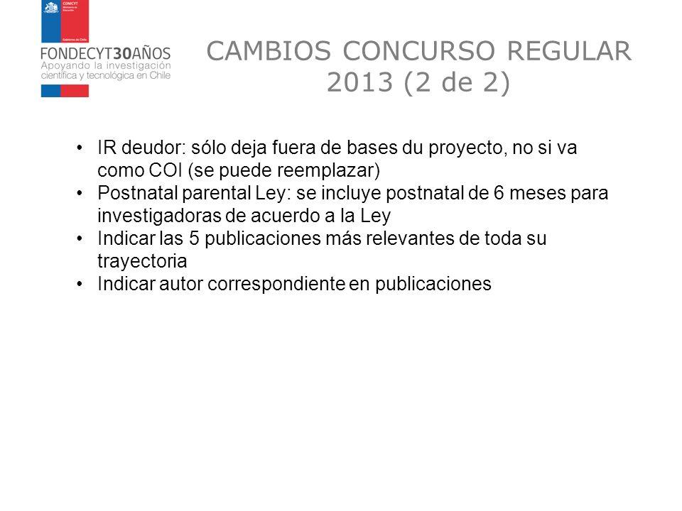 CAMBIOS CONCURSO REGULAR 2013 (2 de 2)