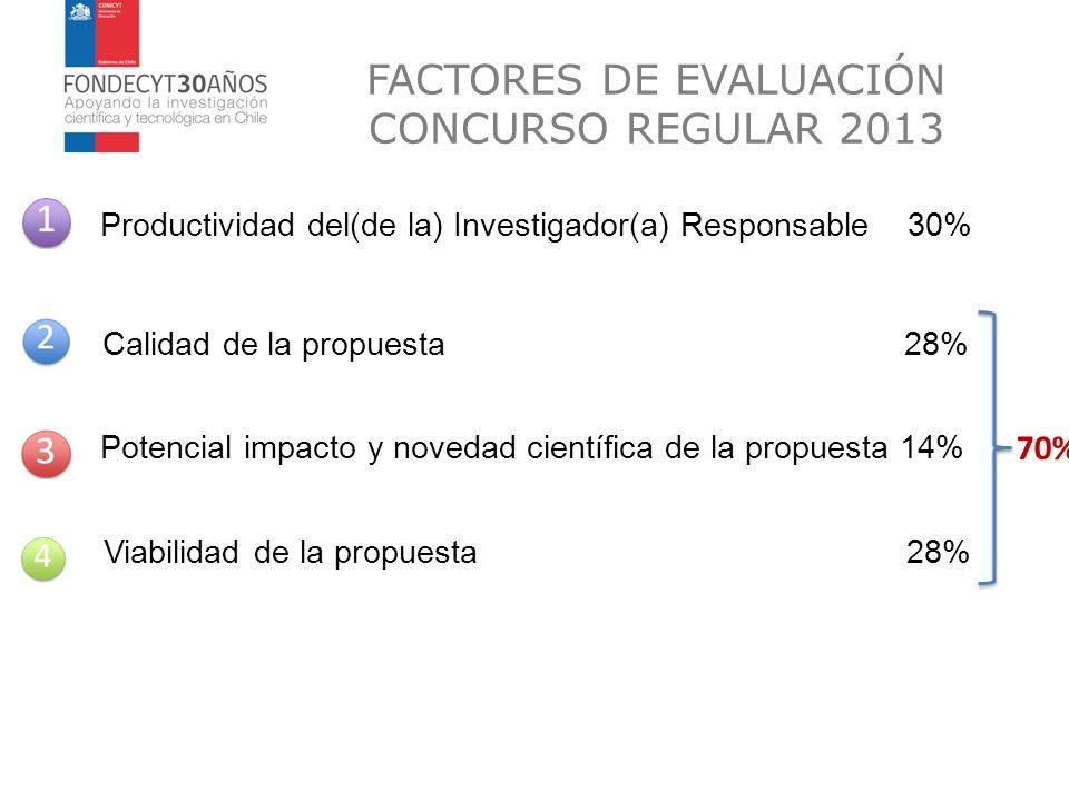 FACTORES DE EVALUACIÓN CONCURSO REGULAR 2013