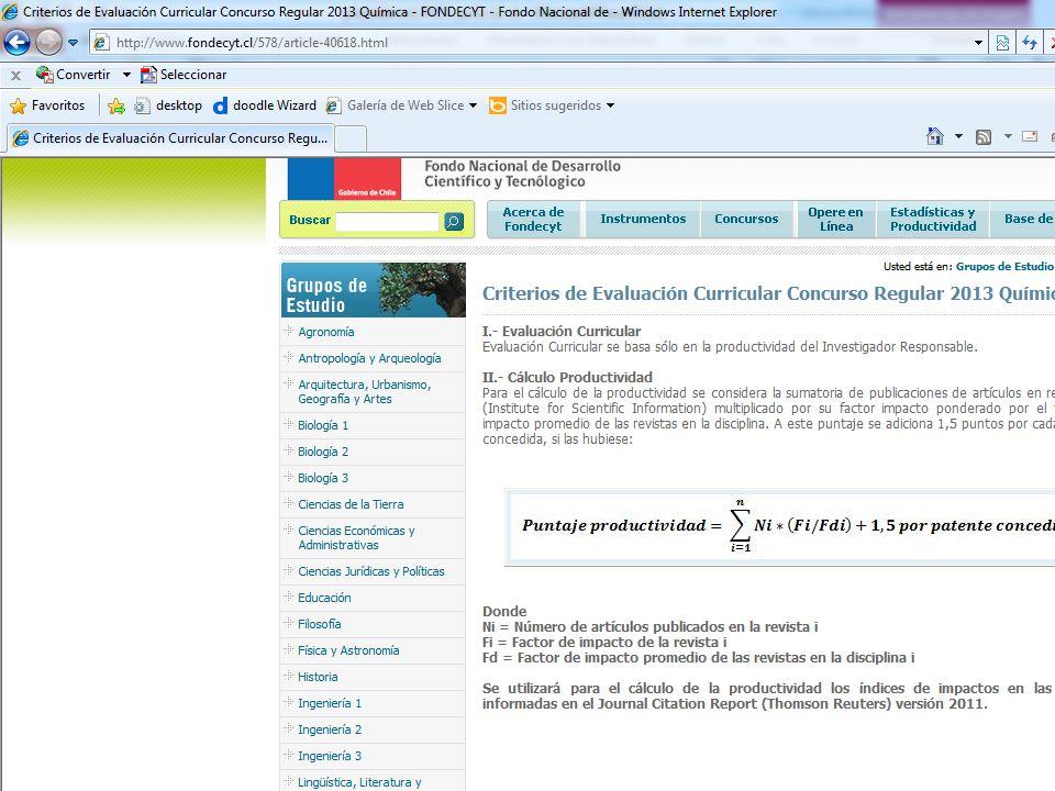 Criterios de evaluación Evaluación curricular