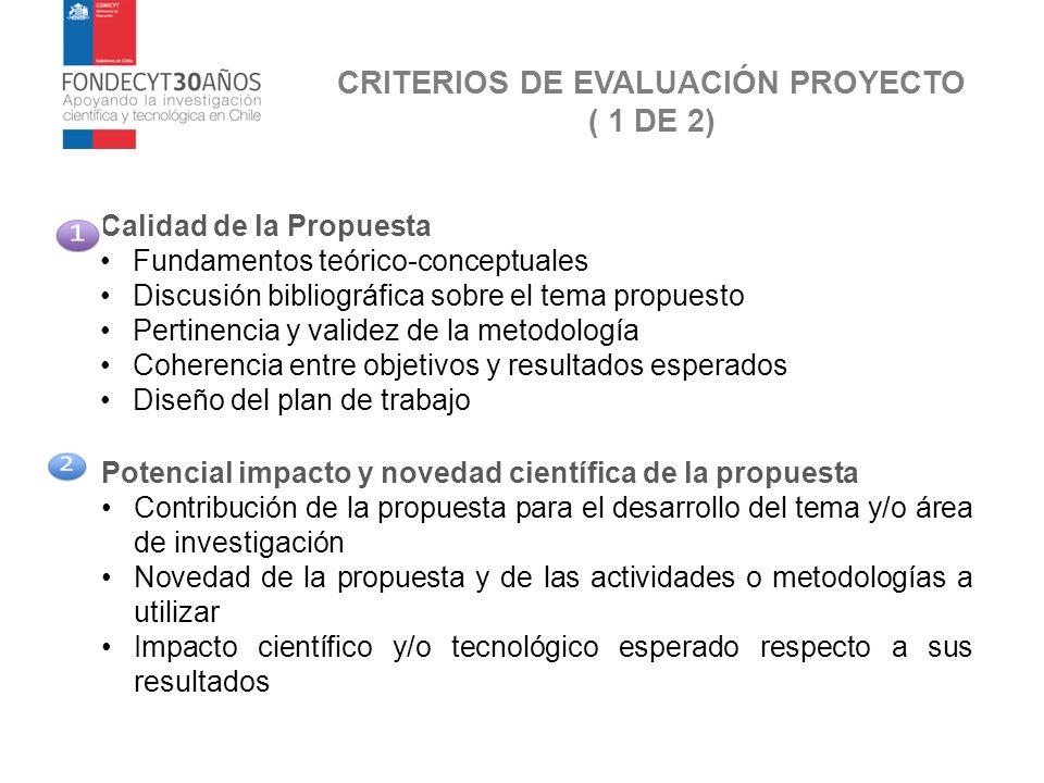 CRITERIOS DE EVALUACIÓN PROYECTO ( 1 DE 2)