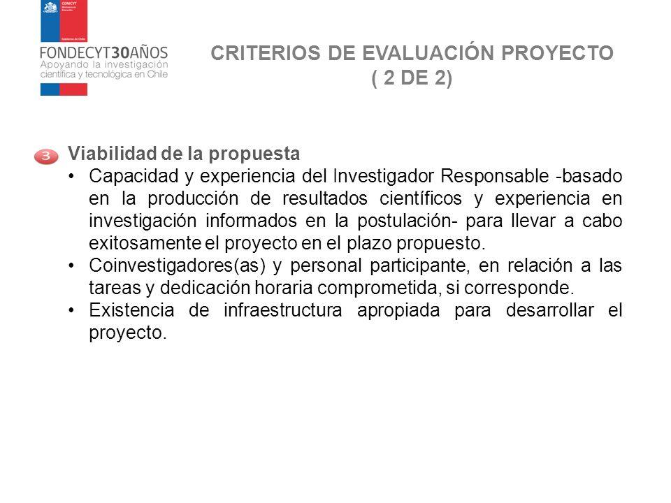 CRITERIOS DE EVALUACIÓN PROYECTO ( 2 DE 2)