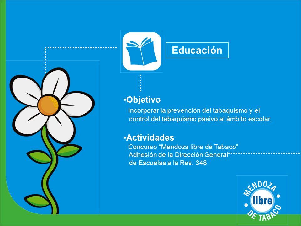Educación Objetivo Incorporar la prevención del tabaquismo y el control del tabaquismo pasivo al ámbito escolar.