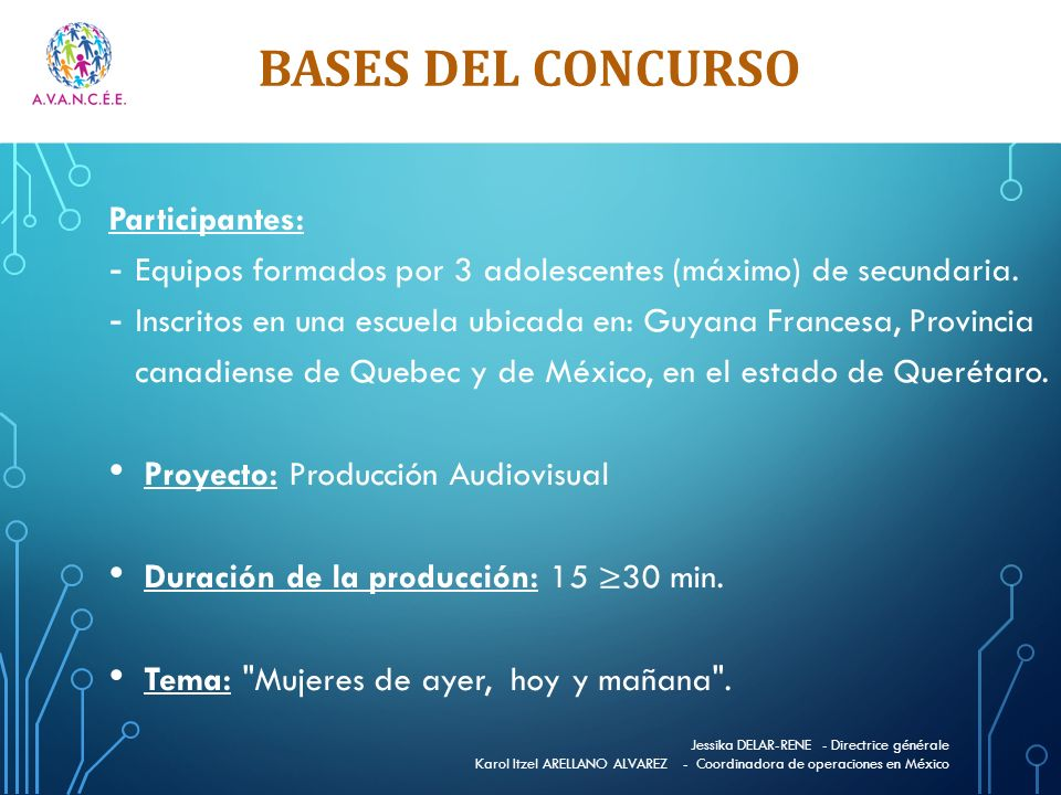 BASES DEL CONCURSO Participantes:
