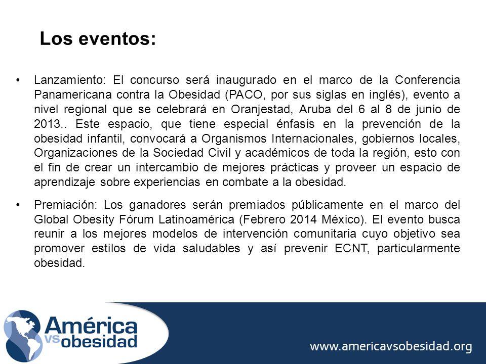 Los eventos: www.americavsobesidad.org