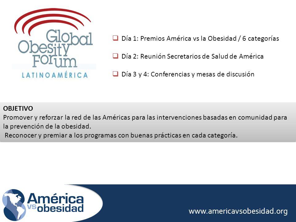 Día 1: Premios América vs la Obesidad / 6 categorías