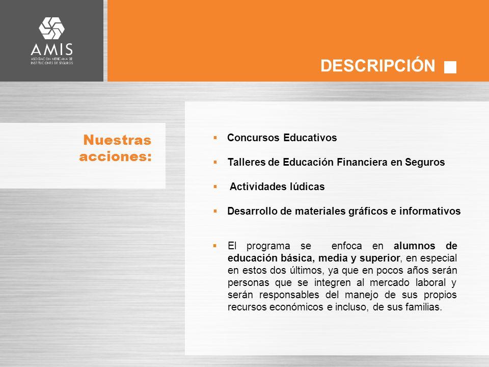 DESCRIPCIÓN Nuestras acciones: Concursos Educativos