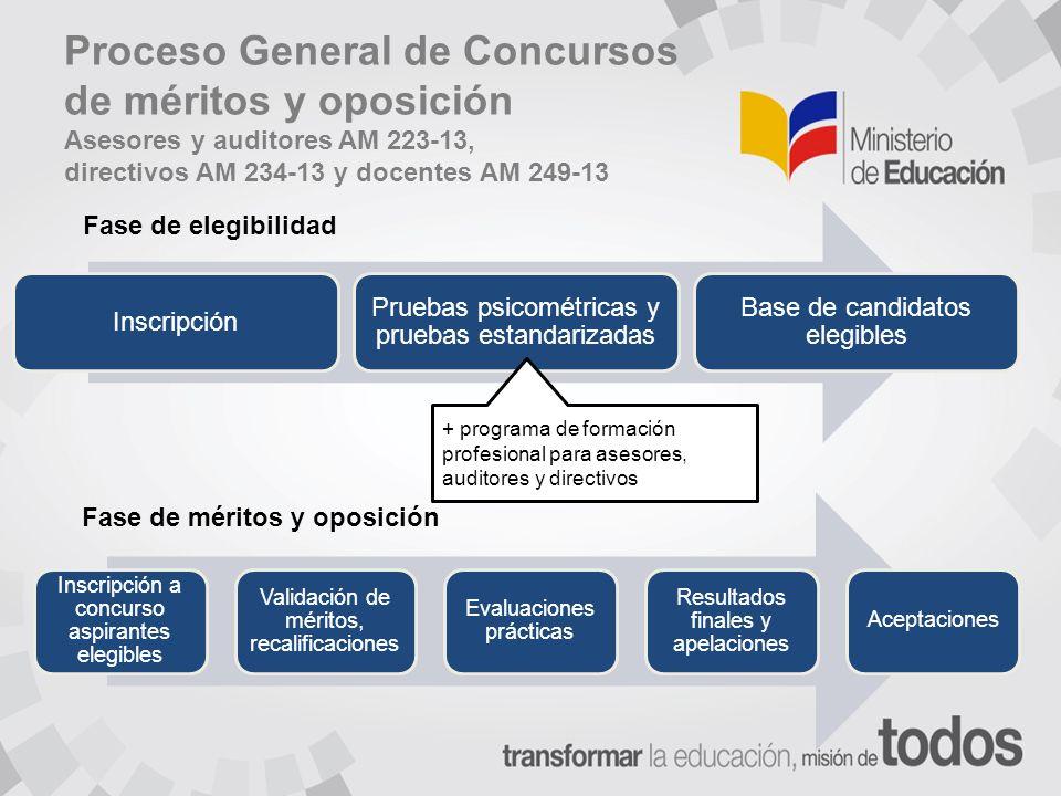Proceso General de Concursos de méritos y oposición Asesores y auditores AM 223-13, directivos AM 234-13 y docentes AM 249-13