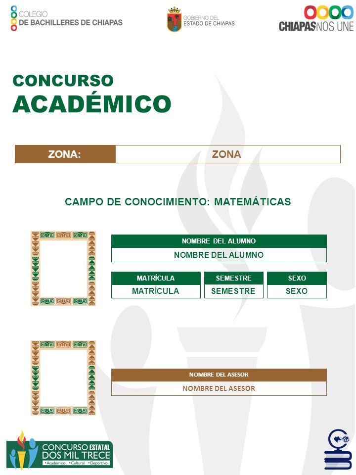 CAMPO DE CONOCIMIENTO: MATEMÁTICAS