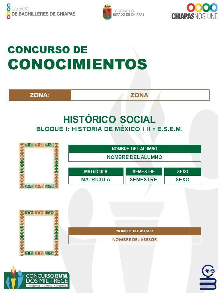 BLOQUE I: HISTORIA DE MÉXICO I, II Y E.S.E.M.