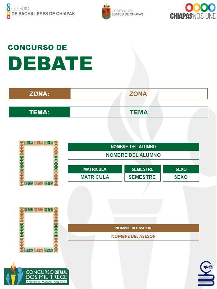 DEBATE CONCURSO DE ZONA: ZONA TEMA: TEMA NOMBRE DEL ASESOR