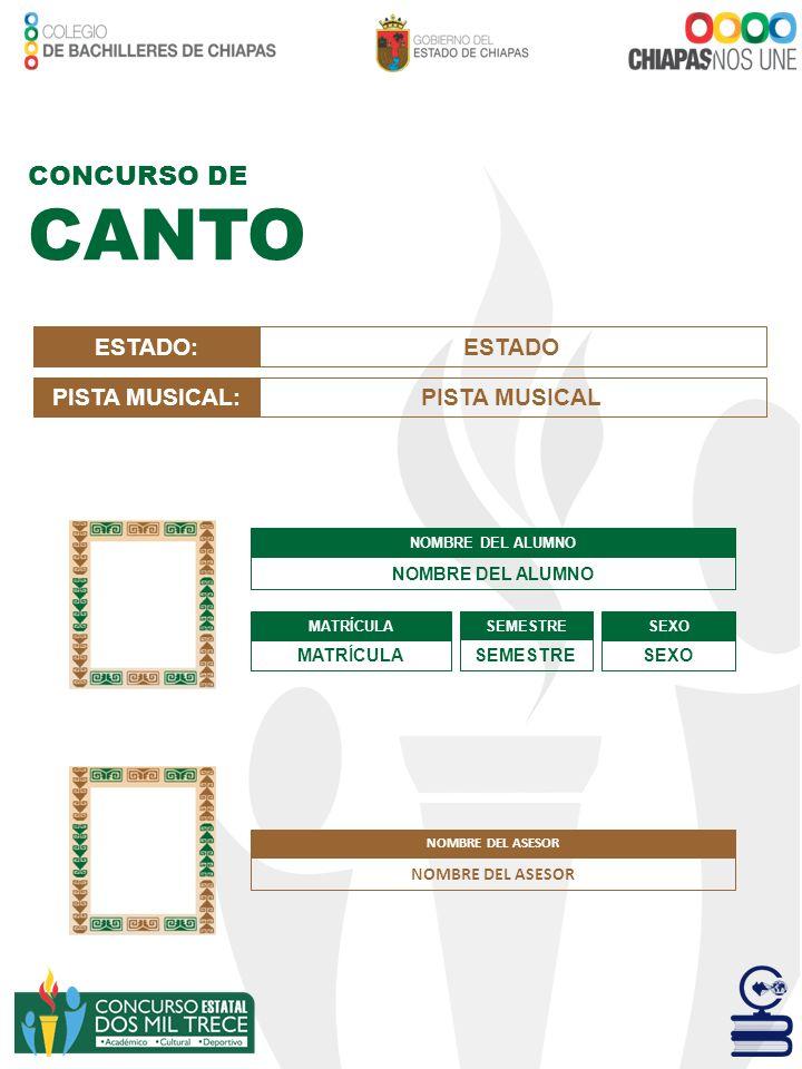 CANTO CONCURSO DE ESTADO: ESTADO PISTA MUSICAL: PISTA MUSICAL
