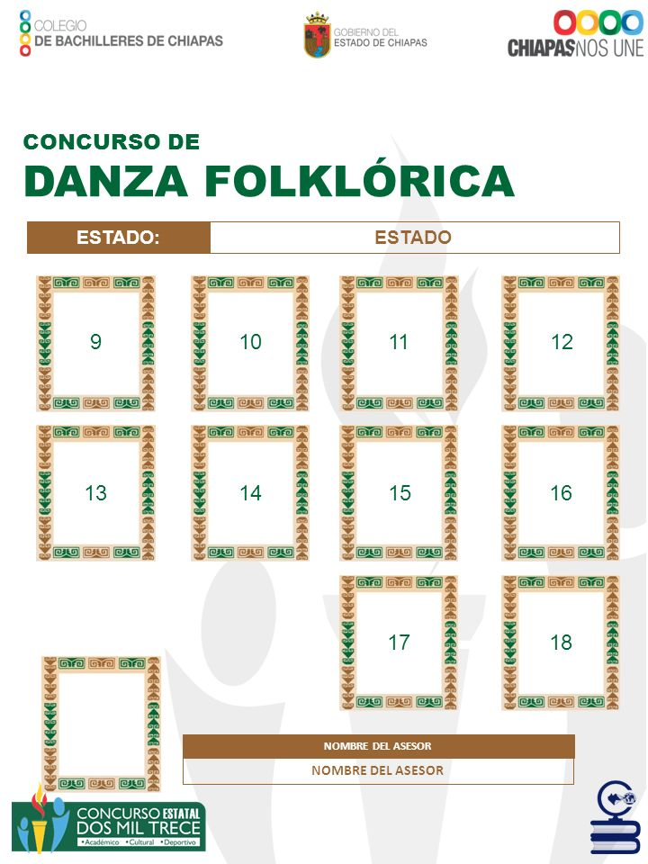 DANZA FOLKLÓRICA CONCURSO DE 9 10 11 12 13 14 15 16 17 18 ESTADO: