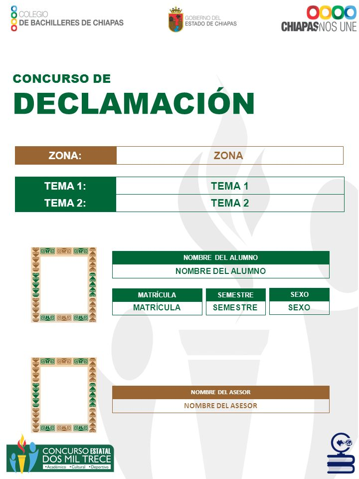 DECLAMACIÓN CONCURSO DE ZONA: ZONA TEMA 1: TEMA 1 TEMA 2: TEMA 2