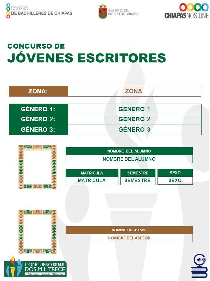 JÓVENES ESCRITORES CONCURSO DE ZONA: ZONA GÉNERO 1: GÉNERO 1 GÉNERO 2:
