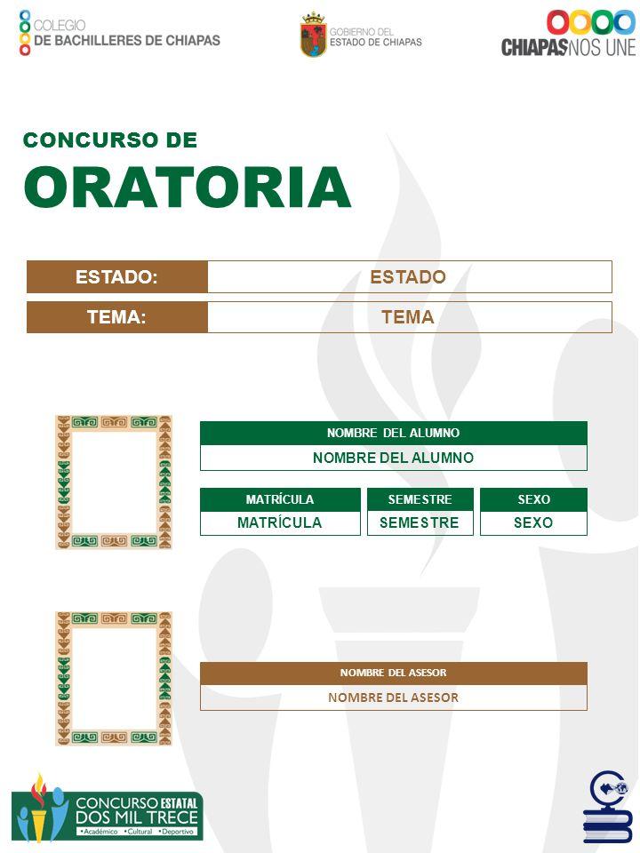 ORATORIA CONCURSO DE ESTADO: ESTADO TEMA: TEMA NOMBRE DEL ASESOR